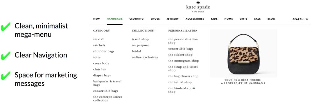 Kate Spade Mega Menu / Information Architecture