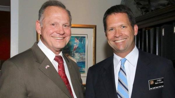 Roy Moore with Hogan judicial appointee Mark Crooks at a Sept. 2017 Anne Arundel fundraiser. Photo is from Facebook and was published at  The Arundel Patriot.