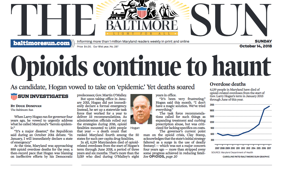 Front page of  Baltimore Sun  from Sunday, October 14, 2018.