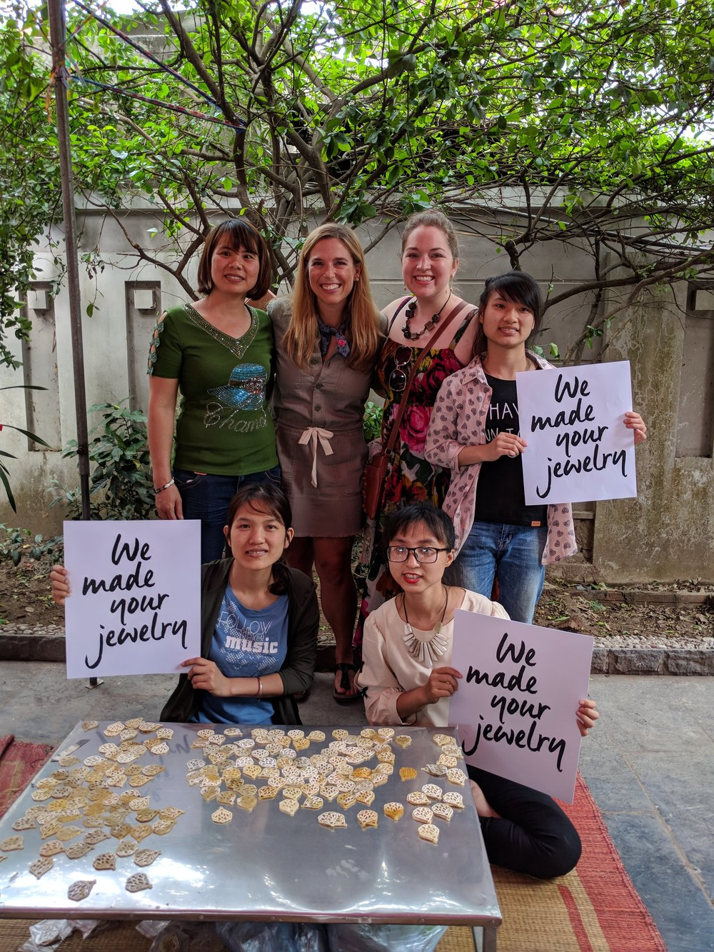 Lanh, Jessica Honegger (Noonday's founder), and I joined the women who performed a final check on these beauties.