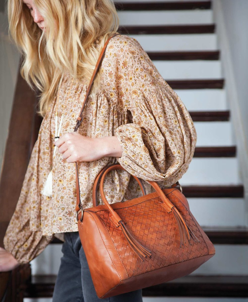 the woven leather monterey bag, sustainably & ethically handmade in india