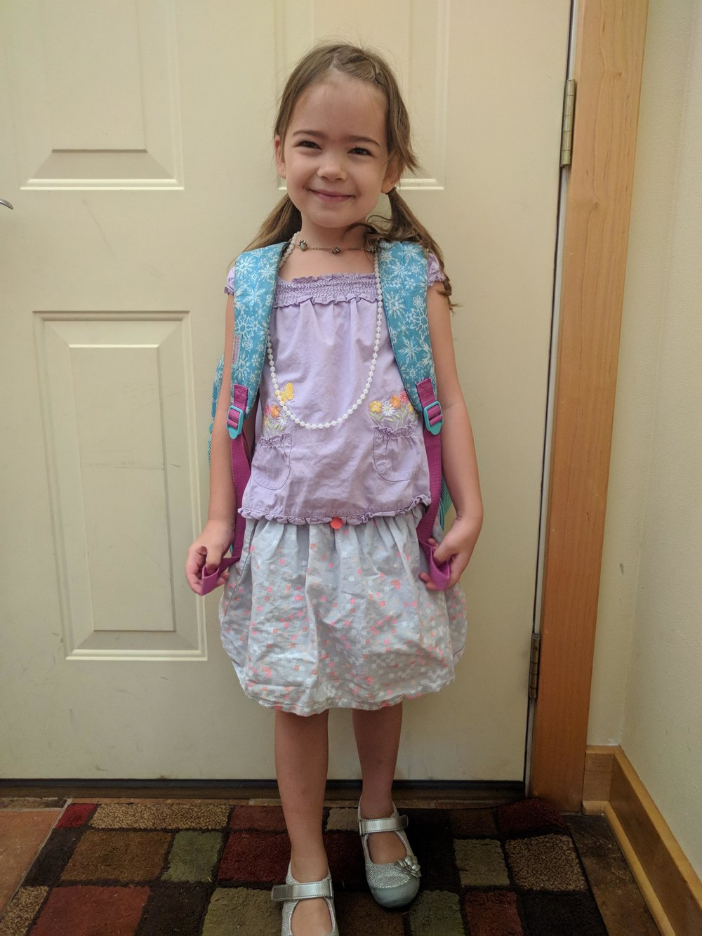 First day of Kindergarten. The short necklace is Noonday's Ethereal Necklace; click to shop.