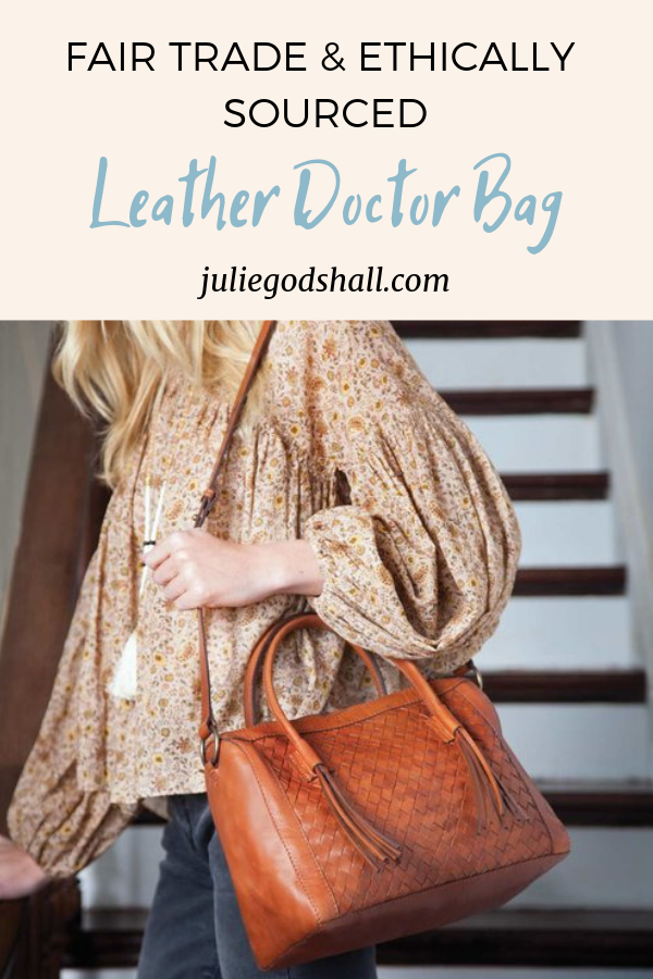 Fair trade, ethically sourced leather handbag from Noonday Collection. The Monterey Bag is handmade, durable, and gorgeous with its doctor bag silhouette. Click to shop from Julie Godshall.