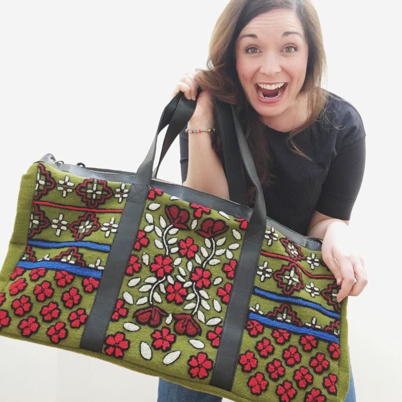 The Mossflower Weekender Bag (photo model & credit: my adorable fellow ambassador, Katie Beard)