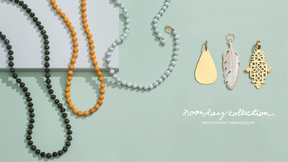 Noonday Collection's fair trade pieces - rope paper bead necklaces from Uganda can be paired with various pendants for a personalized look.