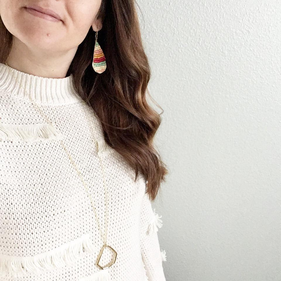"""Debbie says, """"I love the balance of a simple pendant with statement earrings."""" Pictured: Paper Bliss Earrings and Aerial Pendant Necklace. @debbieleerupard"""