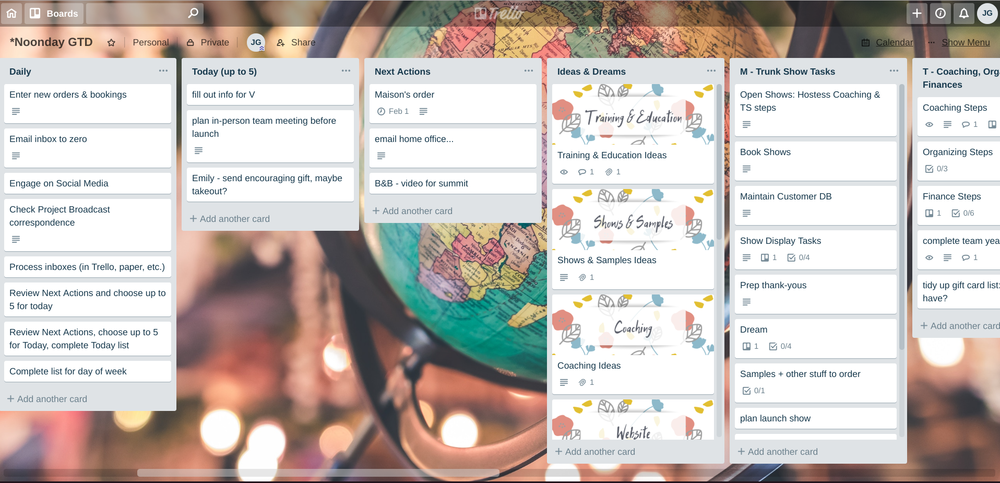 Using Trello to keep up with projects, recurring tasks, and more as a Noonday Ambassador.