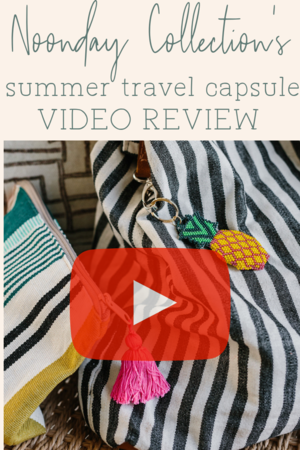 Video review of Noonday Collection's summer capsule, featuring fair trade pieces handmade in Guatemala. Sweet Dreas sleep mask, pineapple Fresca Keychain, Paseo make-up pouch and Valencia tote. #noondayambassador #noondaycoach #noondaystyle #noondaycollection #fairtrade