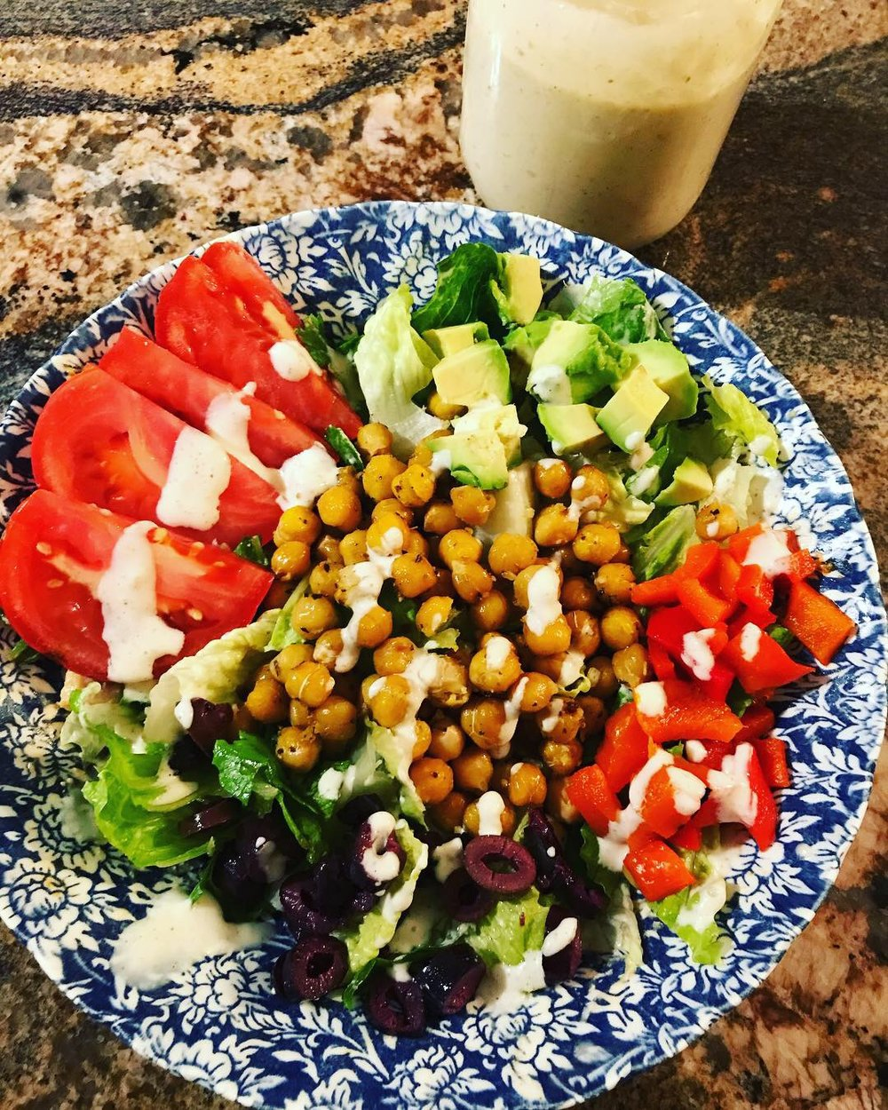 Here is an easy Greek Inspired Bowl that we made with our dressing.