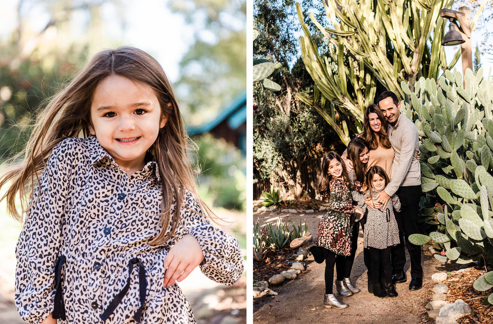 Lisa Hu Chen orange county family photographer young girl dancing in the park family hugging in the cactus garden
