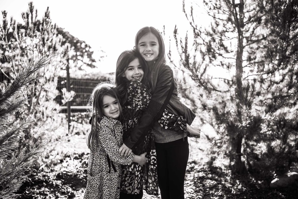 Lisa Hu Chen orange county family photographer three young girls sisters hugging and smiling in field of trees called jacks forest in san juan capsitrano #jacksforest