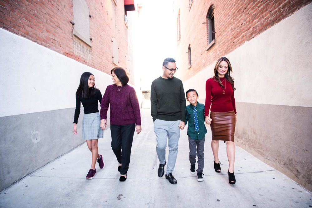 Lisa Hu Chen orange county family photographer | family laughing in the alleyway off Chapman Avenue in Old Town Orange