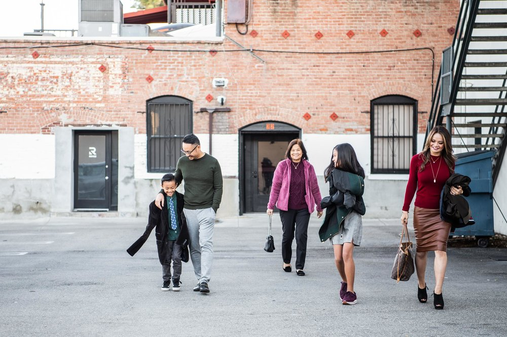 Lisa Hu Chen orange county family photographer | stylish family walking in Old Town Orange