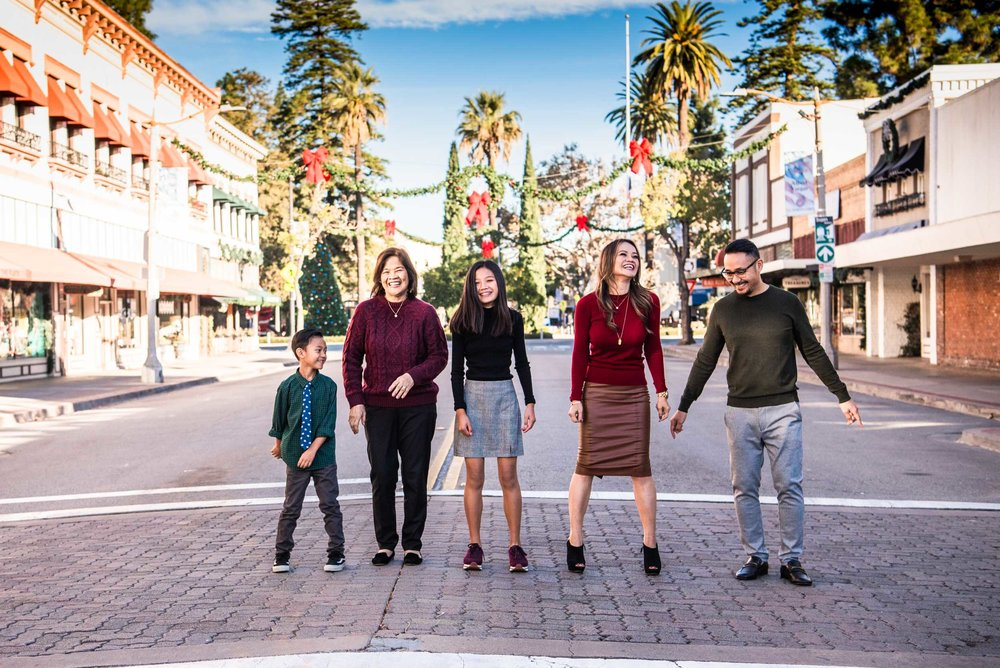 Lisa Hu Chen orange county family photographer | family dancing in the middle of Chapman Avenue in Old Town Orange
