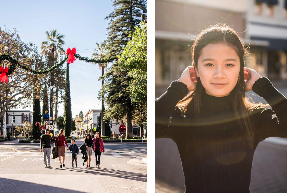 Lisa Hu Chen | family walking in the middle of the street at the Circle in Old Town Orange