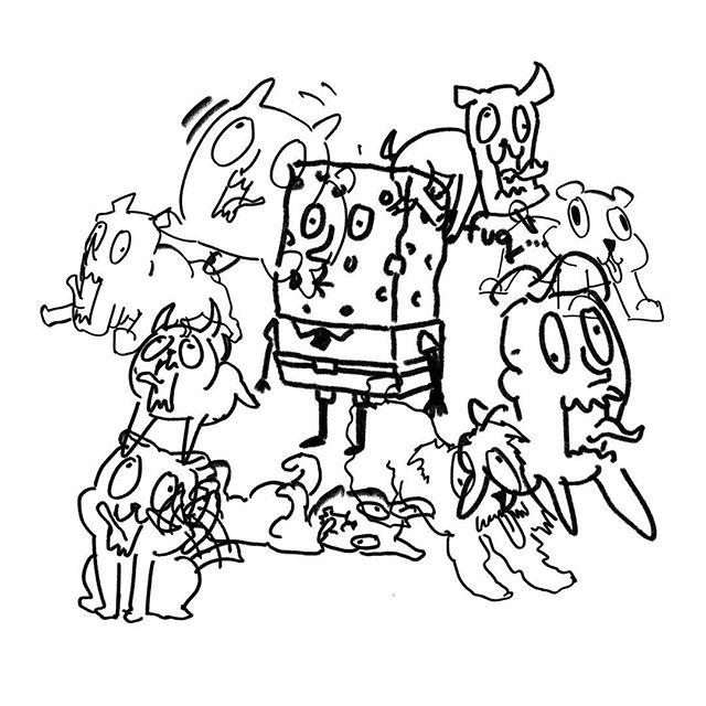 오늘은 하루가 개빠르게 지나가서 개를 그려봤습니다 . This is pretty much how today went by .  #doodle #낙서 #doodling #doodleaday #낙서장 #그림 #sketch #sketching #sketchbook #ink #pen #6bpencil #pencildrawing #pencils #pencilart #risd #osub #BUSO #오섭 #dog #dogs #dogss #puppies #puppy #애견인 #개빠름 #spongebob #spobgebobsquarepants
