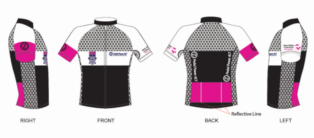 Official 2018 event jersey - The official event jersey for the Big Canberra Bike Ride 2018 is now available to purchase.You'll stand out in the ride in your official event jersey with white, black and bright pink detail, with reflective strips. This year our jerseys are manufactured by Sub4 and can be purchased for $75.00.