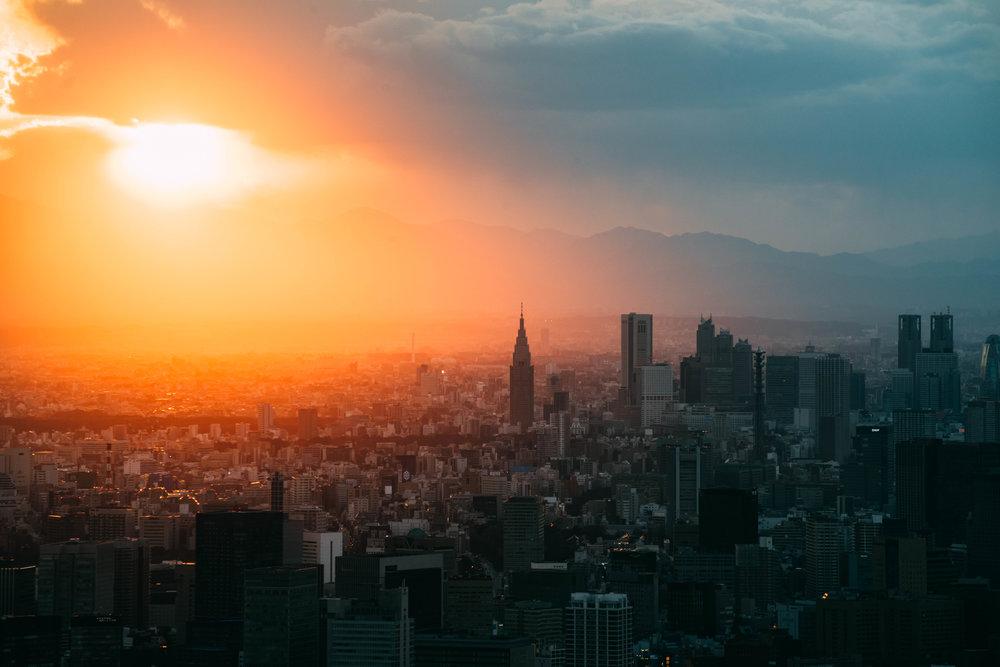 En liten del av centrala Tokyo, sedd från Skytree.