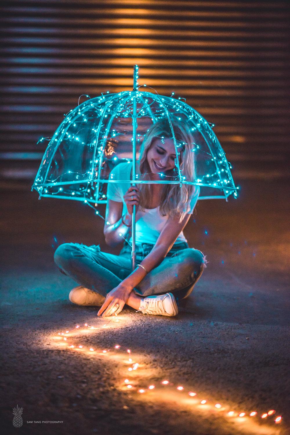 Creatieve portret fotografie met lichtjes