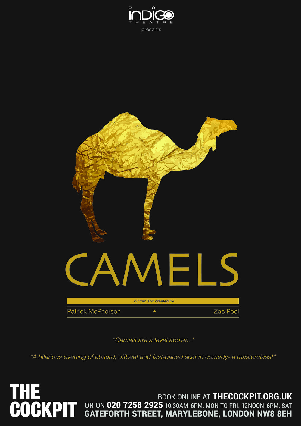 Camels III: Humphrey - The Cockpit Theatre, Marylebone 26th September 2017Director: Cassia PriceGraphics: James LaneProducers: Ed McGovern and James Lane