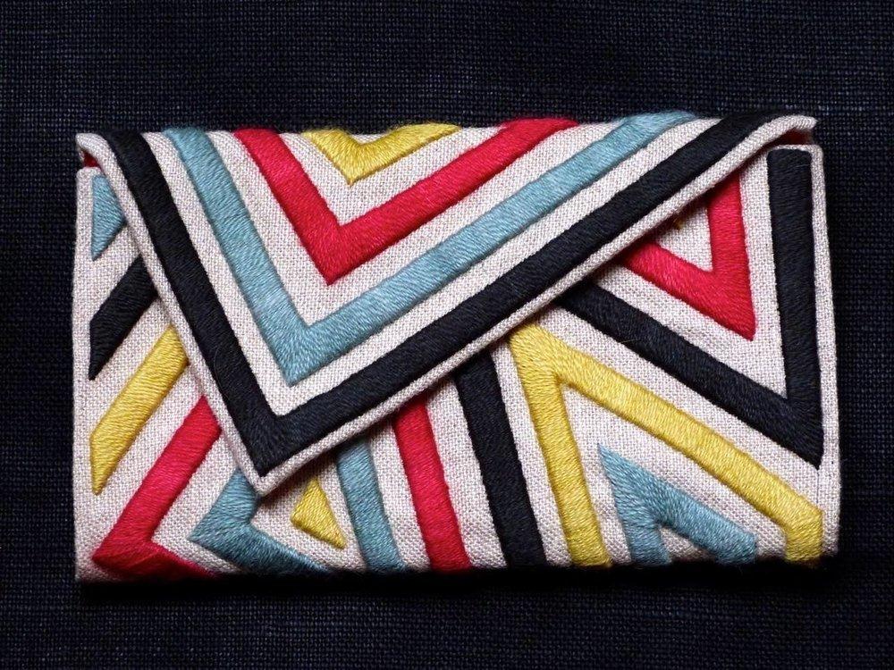 Envelope clutch 2015, Wool embroidery on linen, Photo Vita Cochran