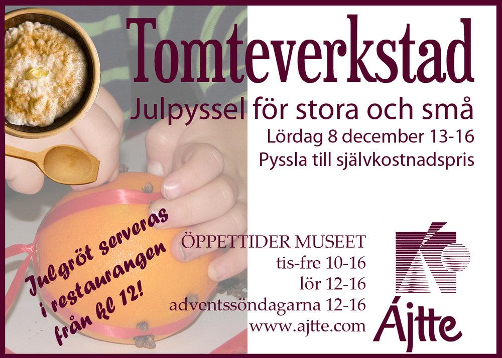 13.00-16.00 JULPYSSEL - Kom och julpyssla till självkostnadspris. Från klockan 12.00 serveras julgröt i restaurangen.Plats: Ájtte