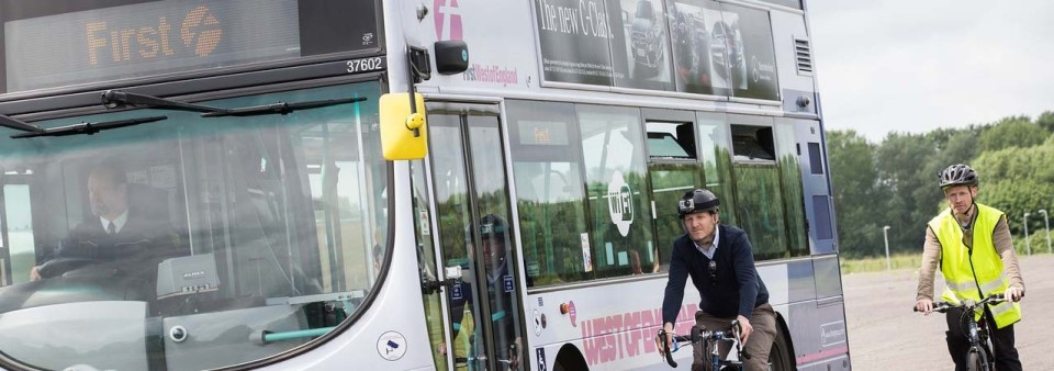 CycleEye mounted on a First Bus Double-Decker