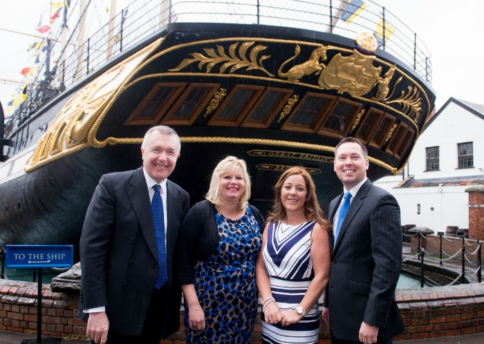 Photo (left to right) – Guy Stobart, Vanessa Moon, Vicki Neath, Charles Cook at the ss Great Britain