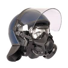 Avon Protection produce gas masks for law enforcement agencies: the HMK150 is integrated with a helmet