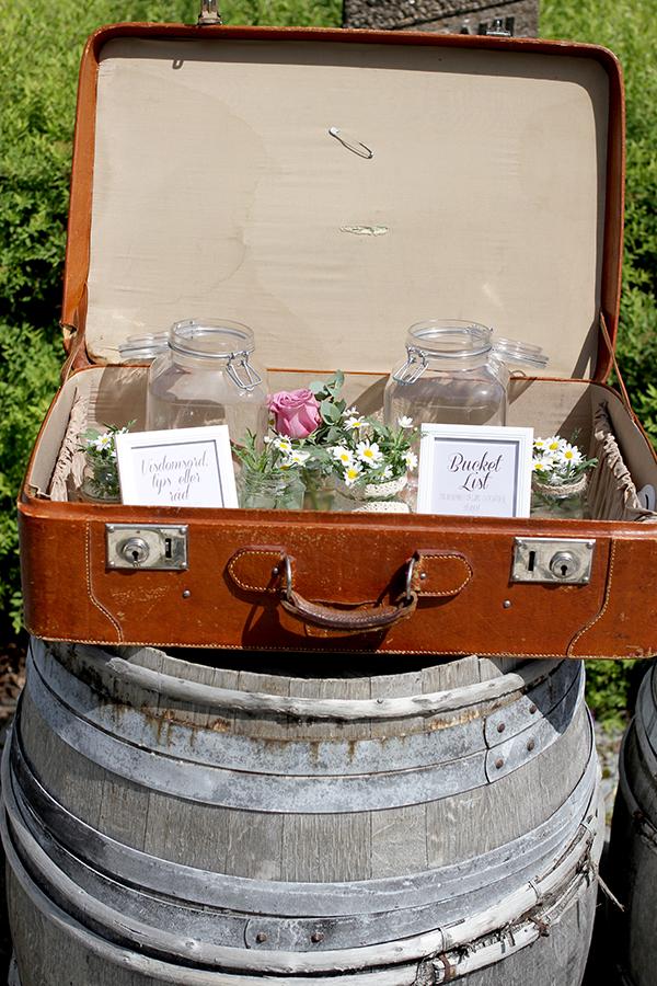 «Tidskapsel» som besto av to lappestasjoner. Den ene krukken ble fylt med «bucket list»-lapper for brudeparet, og den andre med tips, råd og visdomsord. Lappene skal leses på parets bryllupsdag om et år