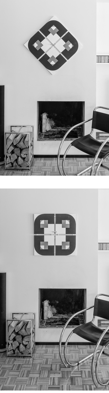 """- Idea Palat Design -tauluille on syntynyt vuosikymmenten mittaisen kehityksen tuloksena. Lähtökohdat juontavat juurensa jopa aikaan ennen syntymääni.Theo van Doesburgin 1930 julkaisema konkreettisen taiteen manifestion luonut pohjaa modernin taiteen kehitykseen ja siten vaikuttanut myös omaan taidekäsitykseeni. Tiivistetynä manifestin sanoma oli, että taideteos tuli rakentaa vain puhtaista plastisista elementeistä, tasoista ja väreistä ja sen tuli pysyä kaksiulotteisessa pinnassa.Tavoitteena oli poistaa teoksesta kaikki tunnepitoiset ja symboliset viittaukset.Näin pitkälle menevä ajattelu taiteen pelkistämisestä oli uraa uurtavaa ja edelleenkin keskustelua herätävää. Toisille ihmisille liian pelkistetty taide ei ole enää taidetta mutta omaan taidekäsitykseeni se sopii. Konkreettinen ja abstrakti taide ovat viehättäneet minua ja hyvin nuoresta iästä saakka. Oma isäni, joka oli arkkitehti, teki abstrakteja töitä puuväreillä 60- ja 70-luvuilla. Tajusin jo silloin, miten mittasuhteiden harmonia voi riittää taideteoksen kantavaksi voimaksi. Äärimmillään jopa pelkkä musta neliö voi olla äärimmäisen vaikuttava teos, kuten Kazimir Malevitsin """"Musta neliö valkoisella pohjalla"""" vuodelta 1915 osoittaa.Kuten jo mainitsin, kaikille hyvin pelkistetty abstrakti taide ei kuitenkaan """"aukea"""". Joskus on vaikeaa perustella toisille sitä taiteellisen elämyksen tuntemusta, joka syntyy äärimmäisen yksinkertaisista asioista. Asioiden mittasuhteet, rytmi ja osien vuorovaikutus eivät tee kaikille ihmisille samaa tuntemusta. Sellaiseen täytyy ehkä olla virittynyt oikealla tavalla. Kyse on myös jollain tavalla oppimisesta. On opittava näkemään.Virikkeen tälle Palat Design -taideprojektille antoi """"mittatilaustyö"""", jonka maalasin eräälle ystävälleni. Heillä oli moderni, hyvällä maulla sisustettu koti, jossa oli pelkistetty värimaailma. Huoneessa, johon maalaus tarvittiin, oli voimakaskuvioinen mustavalkoinen sohva. Sohvan päällä oli tyhjä tila, johon tarvittiin maalaus. Haaste oli melkoinen ja """