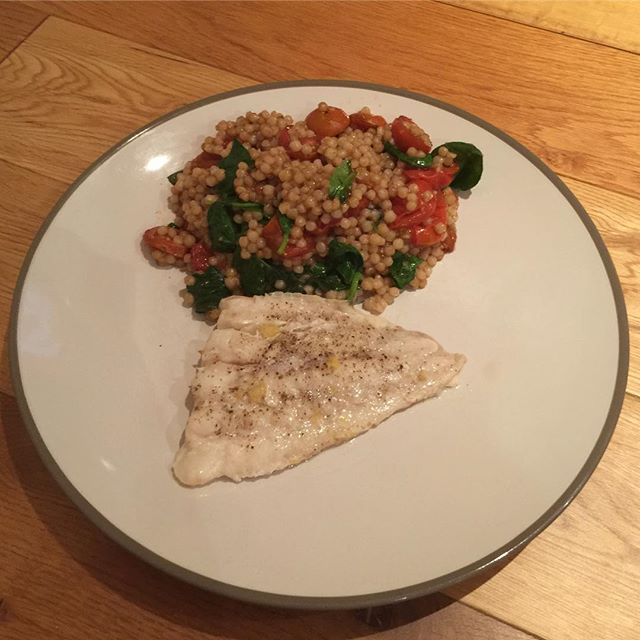 Been a bit lax with the home cooking recently - here's our latest offering of cod with giant couscous and roasted toms. Loved the toms, not too sure about the oversized couscous.  #fish #dinner #cookingathome #foodlover #foodpics #food #homecooking #tasty #instagood #foodography #yum #lovefood #f52grams #food52 #instafood #delish #instafoodie #londontown #london #dailypic #feedme #feedmefeedme #eatme #londonblogger #foodblogger #blogger #instadaily #dailyinsta #dailyfoodfeed #dailyfood