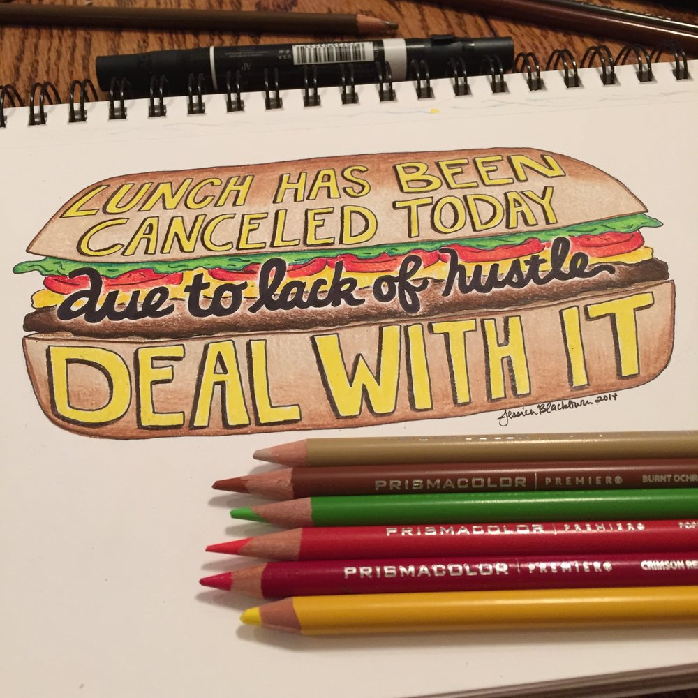 'Deal With It' Colored Pencil and Micron pen