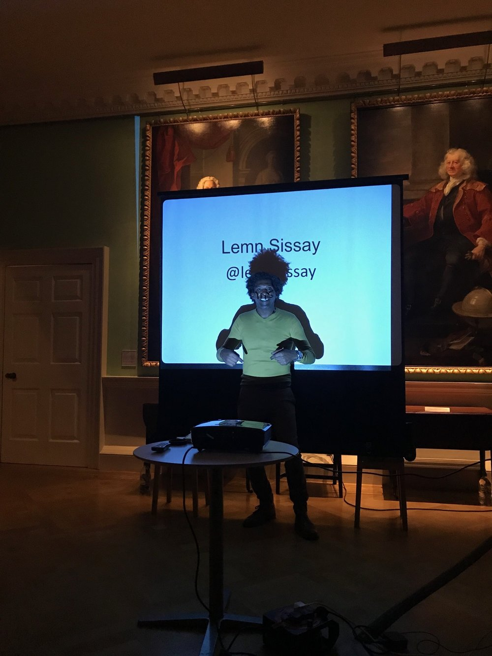 Thomas Coram peeking out from behind Lemn Sissay in the Foundling Museum picture gallery