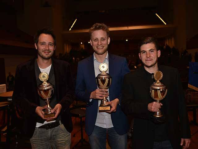 With fellow finalists Ludovic Neurohr and Stan Nieuwenhuis, European Brass Band Championships 2015.