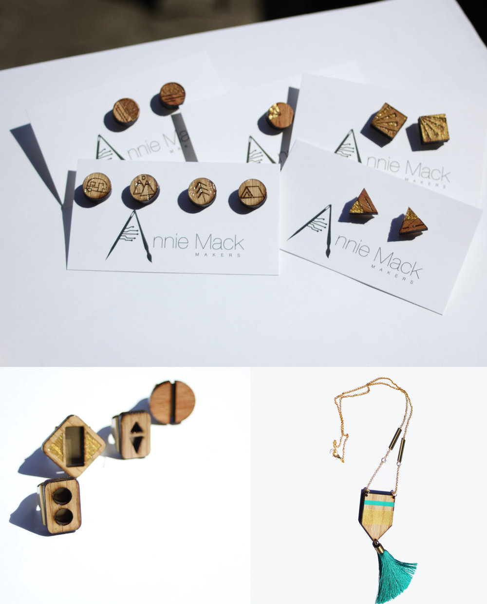 Jewellery - Annie Mack Makers - Laser cut earrings, rings, and necklaces