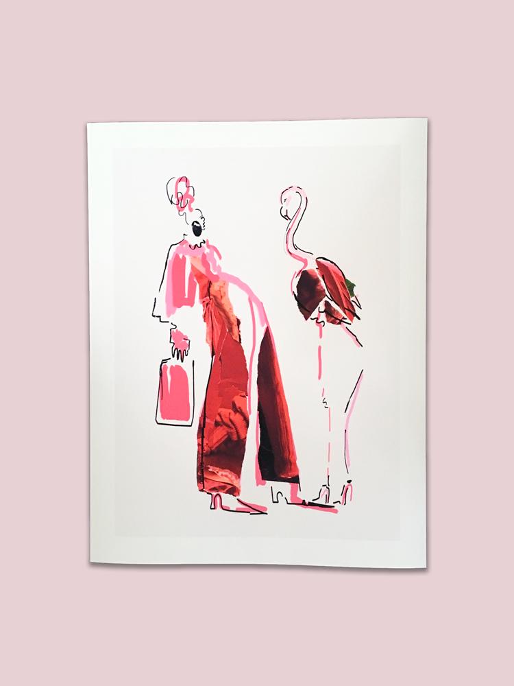 Flamingo Girl   43 x 33 cm   Price:   $ 850.00 MX  $ 42.00 USD