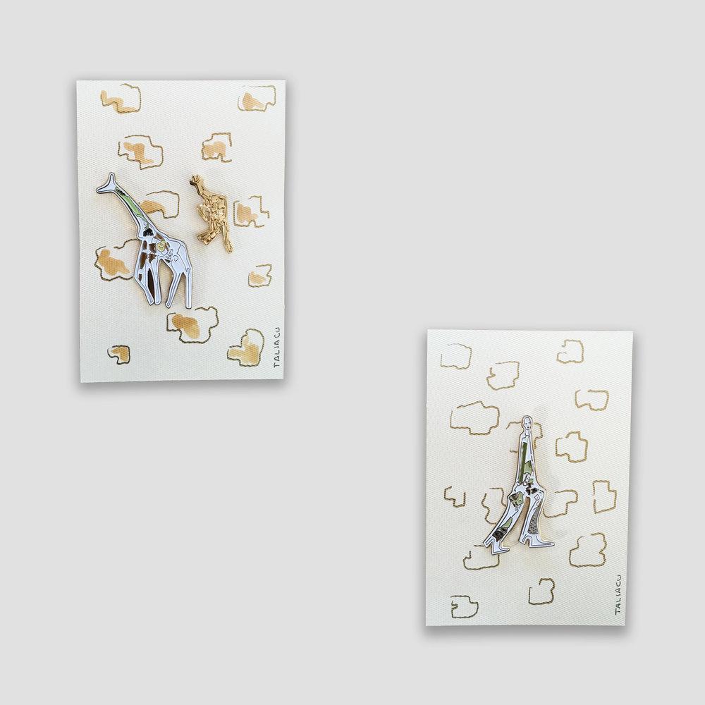 Set of two Giraffe Girl pins   Large giraffe: 5 x 2.3 cm  Small giraffe: 3 x 1.2 cm  Giraffe Girl: 5 cm x 3.5 cm   Price:   $ 420.00 MXN  $ 21.00 USD