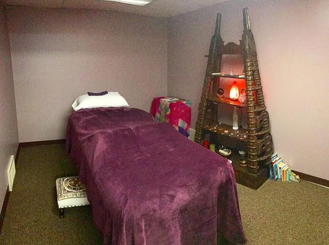 The walls are a little bare but our healing room is ready for you! #reiki #reikimaster #enerygywork #energyhealing #chakrahealing #chakra #meditation #spiritualawakening