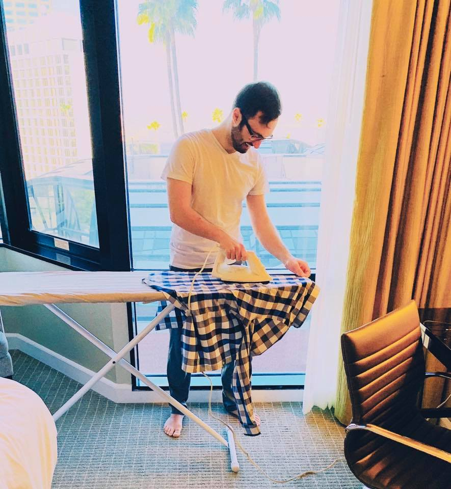 My first time ironing was preparing for the Ellen Show; my partner is very proud.