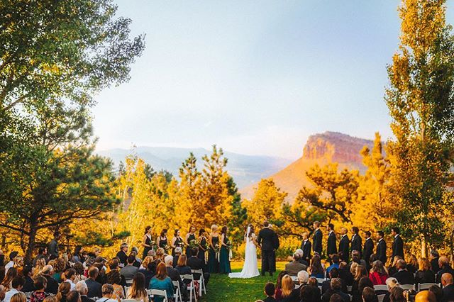 A sunset wedding within the Colorado mountains