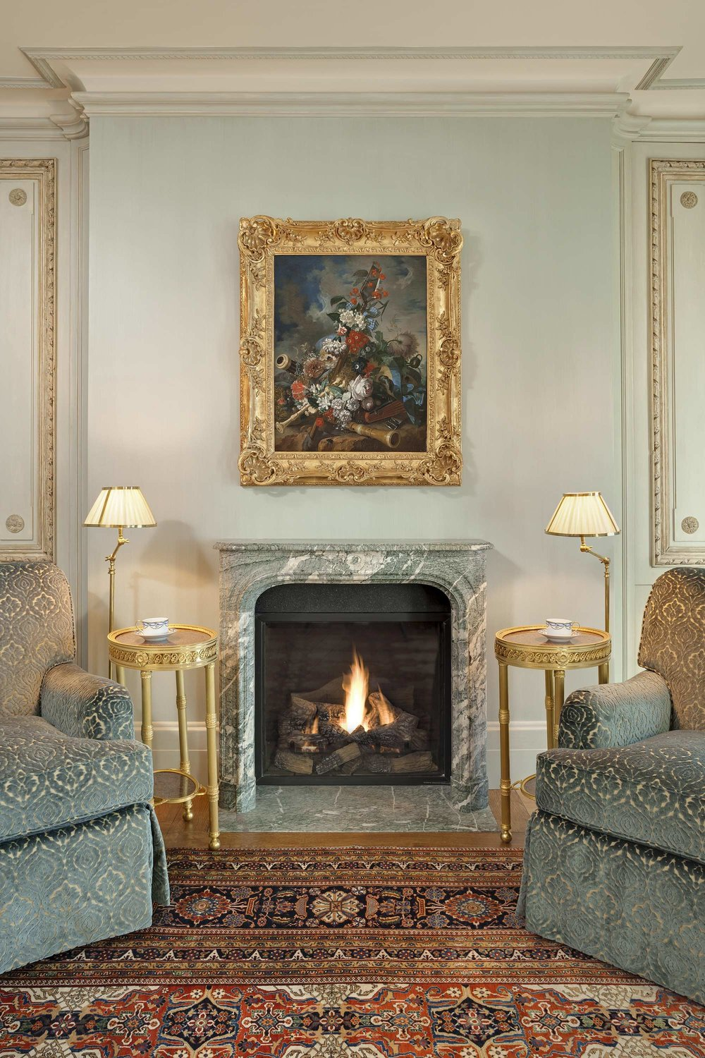 Comfortable Chairs And Warm Fireplace Funeral Home Design