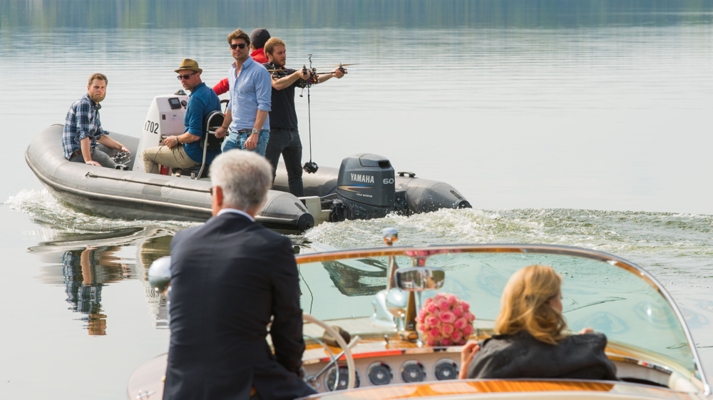 shooting the intro scene on the lake...