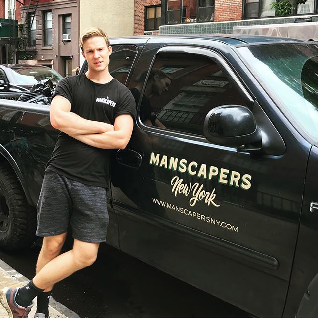 MAN(scaper) of the Month -  Our employees come from all over the place and have varied backgrounds. @aidanwharton is a trained actor and singer who tours the country performing. When he's not on tour he likes to flex his muscles pulling weeds and picking up a hoe!