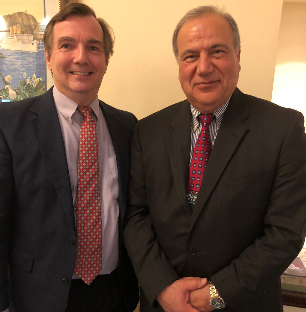 John Corliss, Jr., P.E. - Vice President, PEER Consultants, P.C. - Newly Appointed Chair of IISE Council of Fellows (Left); Dr. Hamid Parsaei - Professor at Texas A&M University, College Station, TX and Texas A&M University at Qatar - Outgoing Chair (Right).