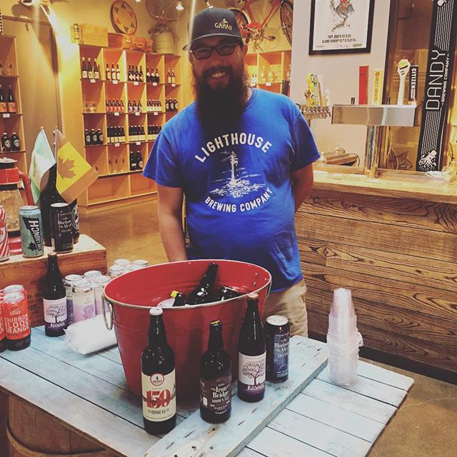 Trevor's here from @craftbeerimport  pouring some @bulwarkcider , @lighthousebeer and @gahanbeer . #craftbeeryyc