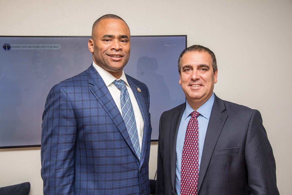 Congressman Marc Veasey (D-TX) and Layer3 TV CEO Jeff Binder enjoy the Future of Television event at the Consumer Technology Association Innovation House on October 25, 2017.