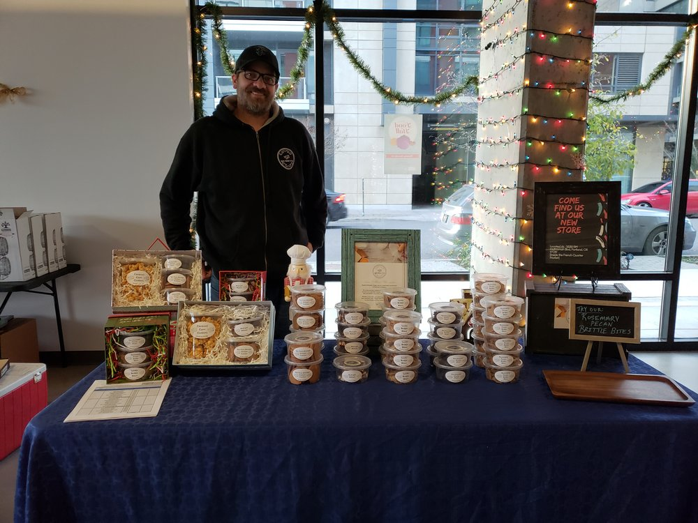 How Sweet It Is introduced their new chocolate covered cherries and sold gorgeous gourmet gift baskets for attendees.