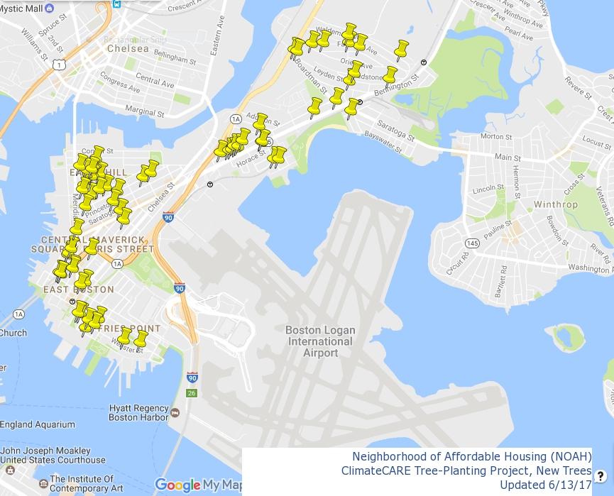 Arboles Sembrados en 2017 - Este mapa, creado por N-YO (NOAH Youth Organizers), muestra todos los arboles nuevos sembrados por la Ciudad de Boston en 2017 en colaboracion con NOAH.