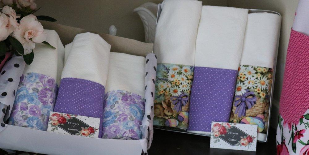 Flowers of Cotton Flour Sack Towel Sets - 3 Towels